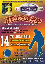 Registration opened to SLAEAJ Cricket tournament 2013.